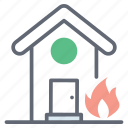 building fire, fire accident, home fire, house fire, property fire icon