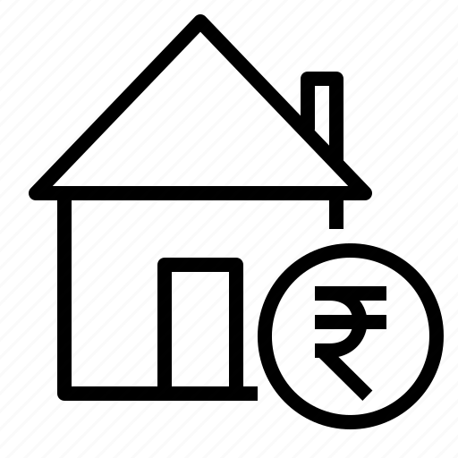 building, estate, home, house, rate, real, rupee icon