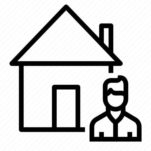 buyer, estate, home, house, male, real, seller icon