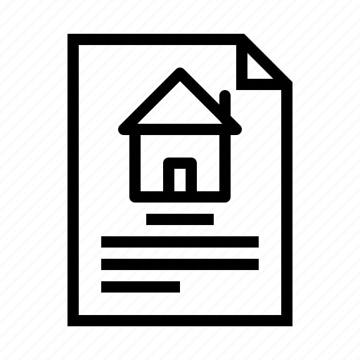address, deal, estate, home, house, paper, property icon