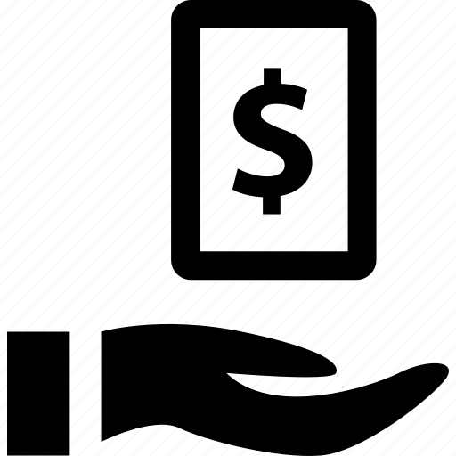 document, dollar, file, hand icon