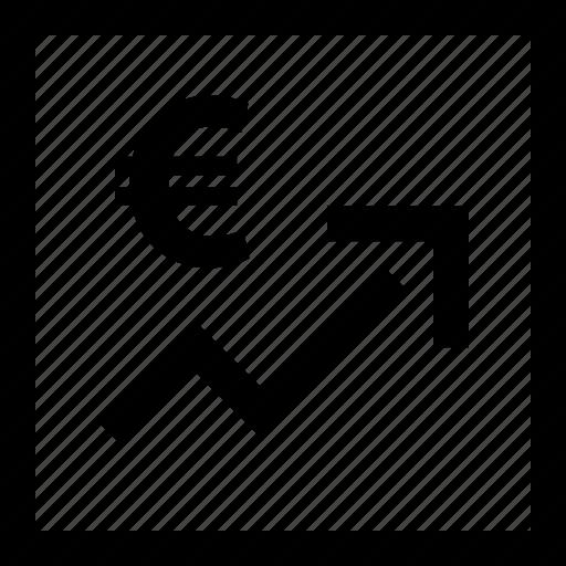 analytics, arrow, euro, web icon