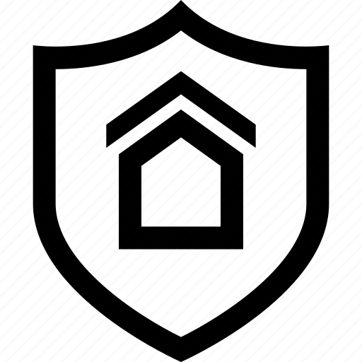 home, house, secured, shield icon