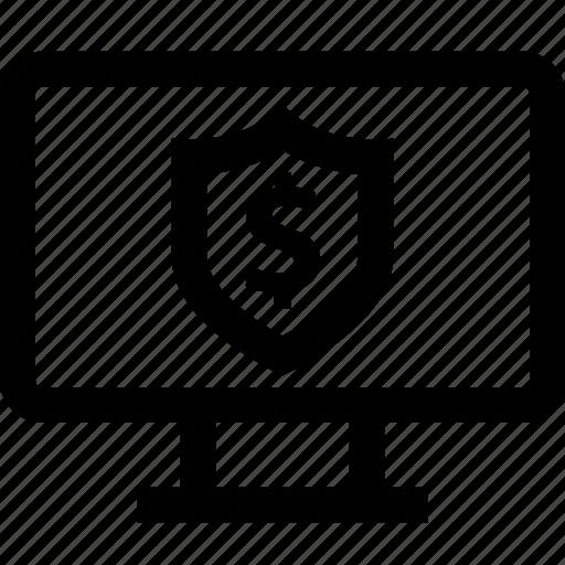buy, dollar, shield, sign icon