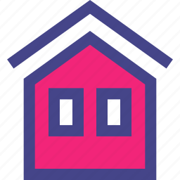 front, home, house, two, window icon