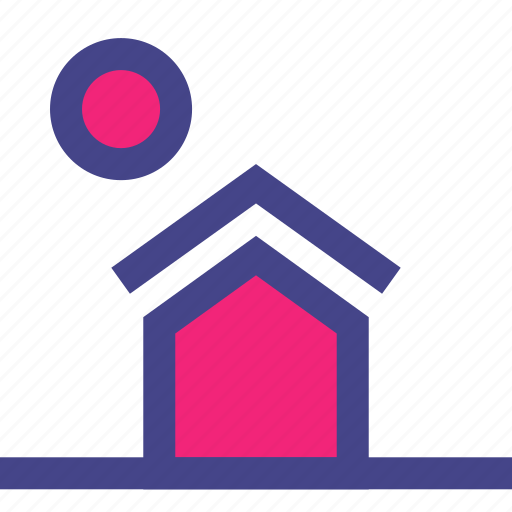 front, home, house, lawn, moon, outdoor icon