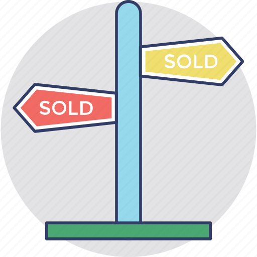 Sold signpost, sold advertisement, estate signage, sold out, commercial estate sign icon - Download