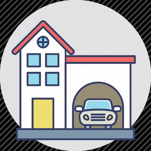 automobile, car parking, car porch, garage, house garage icon