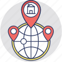 global location, localization, map pin, world location, worldwide icon