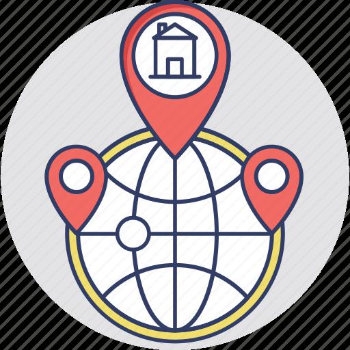 global location, localization, map pin, world location, worldwide icon