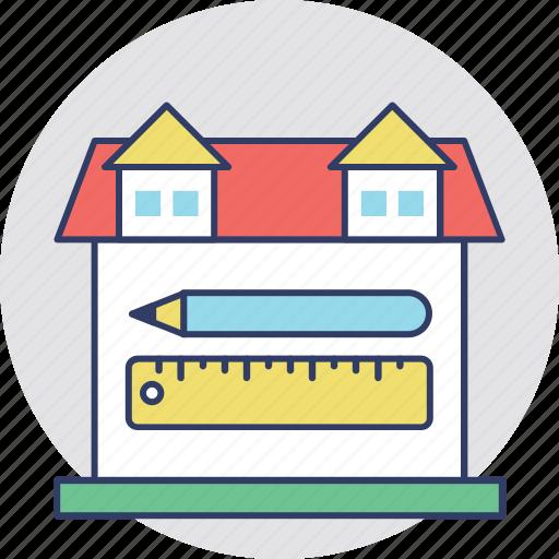 architectural project, construction plan, house plan, house size, property measurement icon