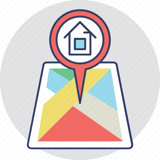home location, location holder, location pointer, map pin, navigation icon