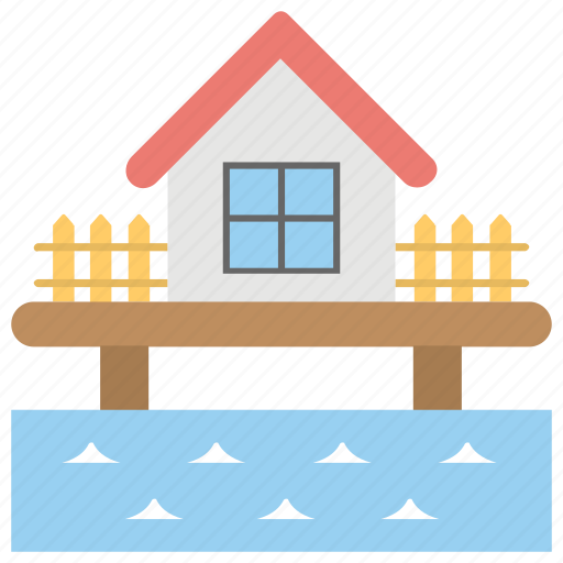 beach bungalow, floating villas, ocean bungalow, overwater bungalow, resort hotel icon