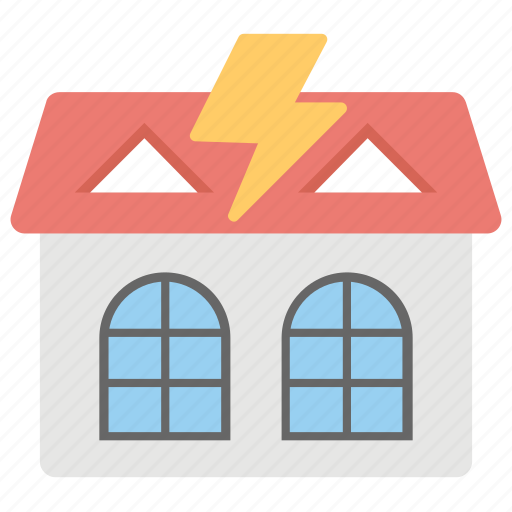 lightning protection, soundproof, thunder protection home, thunderproof, thunderstorm on roof icon