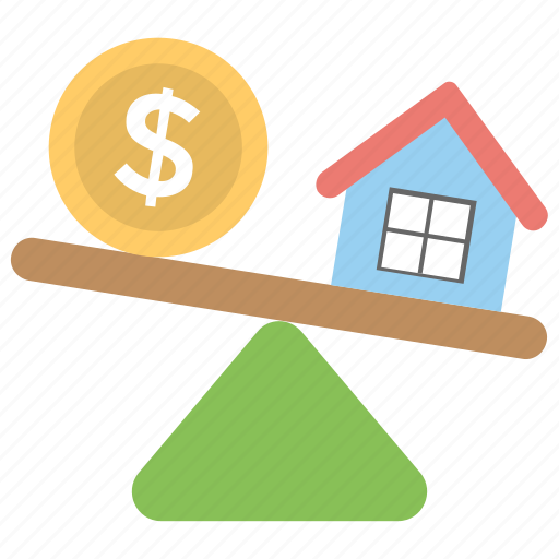 property assessment, property value, property value seesaw, see saw business, seesaw dollar house icon