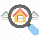 house selection, real estate search, relocation, search home, search listing icon