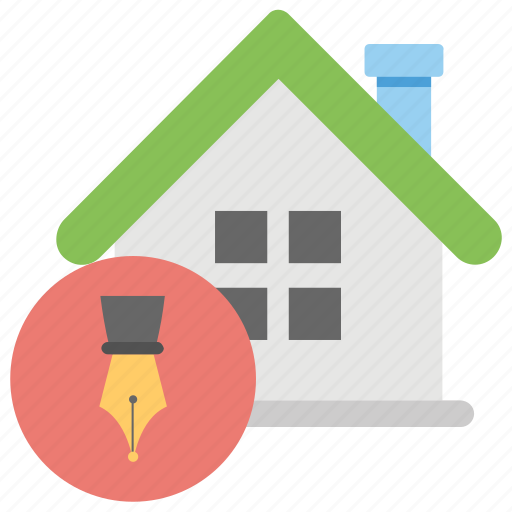 house accord, house with pen, property agreement, property allotment, property deal icon