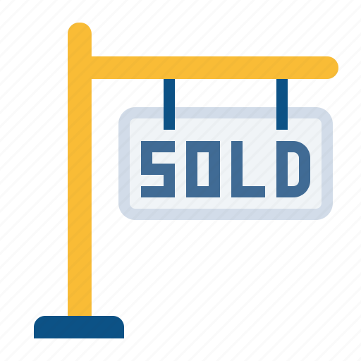 board, building, estate, home, house, property, sold icon