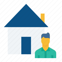 building, buyer, home, house, male, rent, seller icon