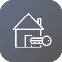 building, estate, home, key, lock, property, real icon