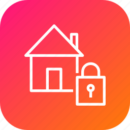 building, estate, home, lock, property, safe, secure icon