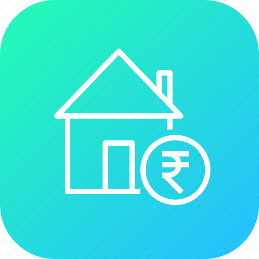 building, estate, home, house, rate, rent, rupee icon