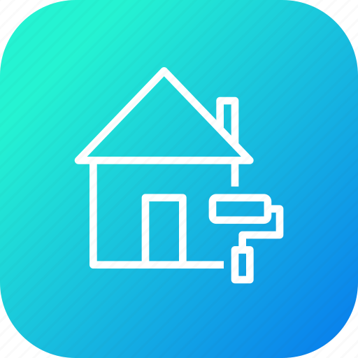 colour, estate, home, house, job, painting, property icon