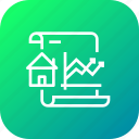 analysis, decrease, document, growth, increase, paper, property icon