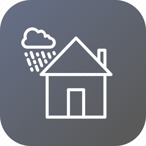 cloud, cloudy, home, house, rainproof, waterproof, wind icon