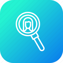 broker, buyer, estate, lady, magnifier, search, seller icon