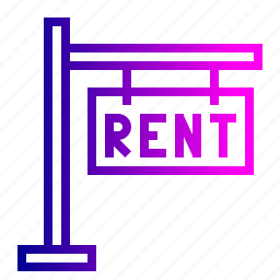 board, building, estate, home, notice, rent, sign icon