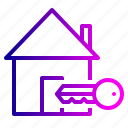 building, estate, home, house, key, lock, property icon