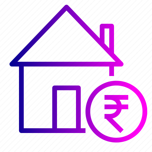 building, estate, home, property, real, rent, rupee icon