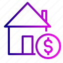 building, deal, dollar, estate, home, property, rent icon