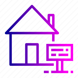 board, building, estate, home, house, notice, property icon