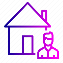 building, estate, home, house, male, rent, seller icon
