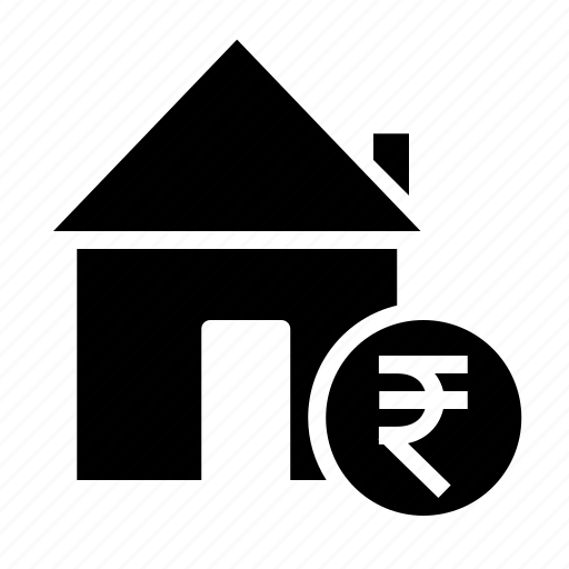 estate, home, house, property, rate, rent, rupee icon