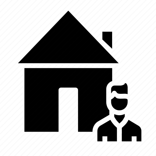 building, buyer, estate, home, house, male, rent icon
