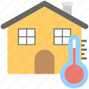 central air conditioning concept, central heating system, home central cooling, home temperature, house temperature symbol icon