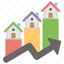 housing market graph, housing market stats, infographic, property price trends, real estate statistics icon