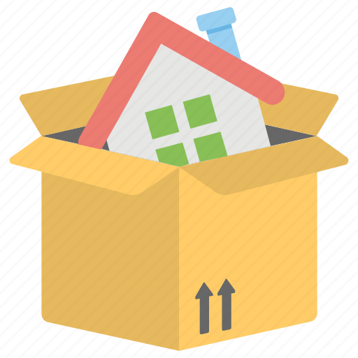 model home, moving house, real estate, real estate house cardboard box icon