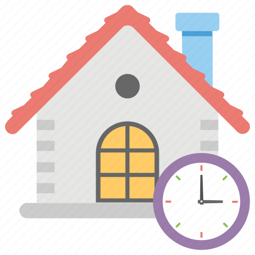 architectural project time, house clock, housing project duration, housing project period, sale time icon