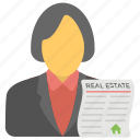 estate agent, homeowner, property agent, property representative, real estate advisor icon