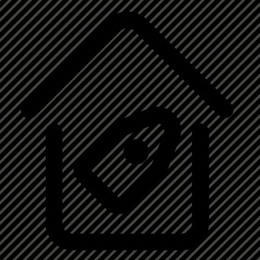 building, estate, home, label, price, sale, tag icon