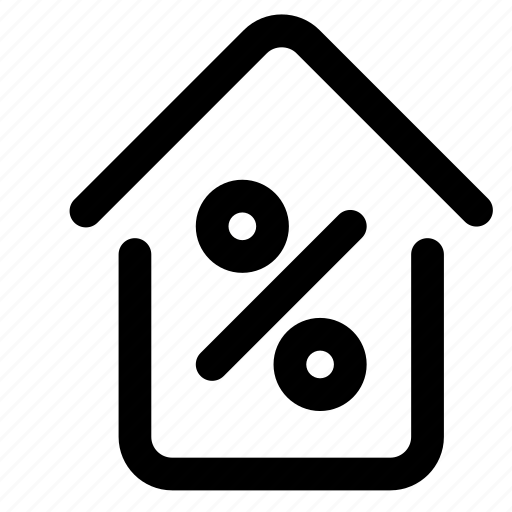 construction, discount, home, house, percent, property, sale icon