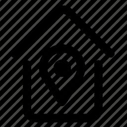 arrow, house, land, map, mark, pointer, printer icon