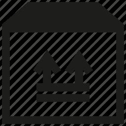 arrow, box, carton box icon