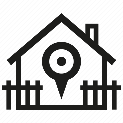 asset, estate, house, location, map pin, pin, real estate icon