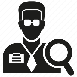 agent, business man, magnifier glass, man, search icon