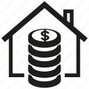 estate, house, real estate, asset, money, home, coin